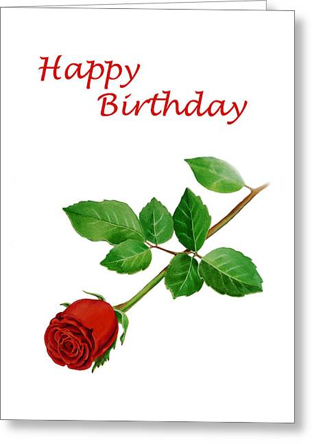 Noble Greeting Cards - Red Rose Happy Birthday  Greeting Card by Irina Sztukowski