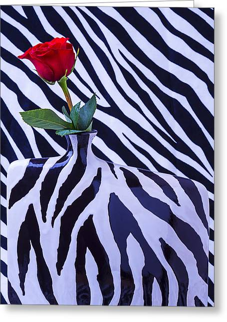 Graphic Photographs Greeting Cards - Red Rose In Zebra Vase Greeting Card by Garry Gay