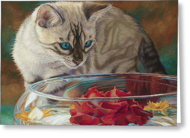 Blue Cat Greeting Cards - Red Rose Greeting Card by Lucie Bilodeau