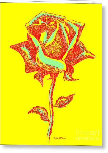 Floral Digital Drawings Greeting Cards - Red Rose Paintings 1 Greeting Card by Gordon Punt