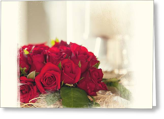Valentine Gift Ideas Greeting Cards - Red Rose Wish. Elegant KnickKnacks from JennyRainbow Greeting Card by Jenny Rainbow