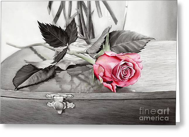 Watercolor! Art Greeting Cards - Red Rosebud on the Jewelry Box Greeting Card by Hailey E Herrera