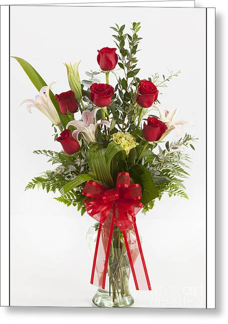 Vase Framed Prints Greeting Cards - Red Roses and Lilly 8048.02 Greeting Card by M K  Miller