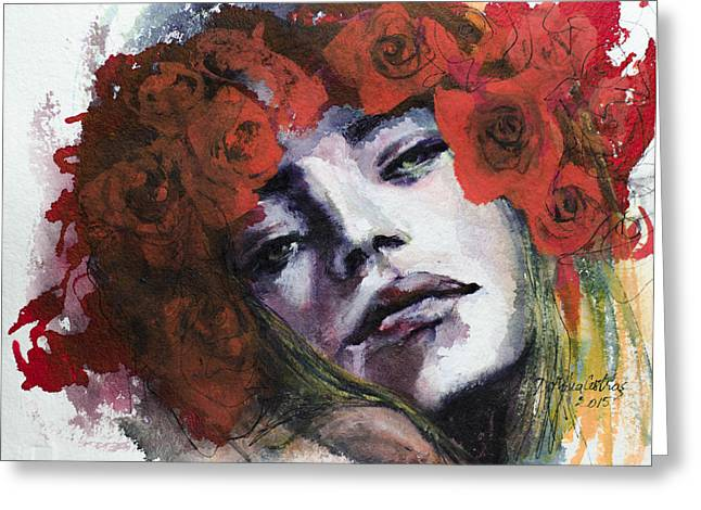 Live Paintings Greeting Cards - Red Roses Greeting Card by Dorina  Costras