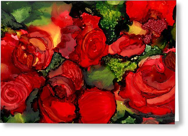 Alcohol Inks Greeting Cards - Red Roses Greeting Card by Elaine Hodges