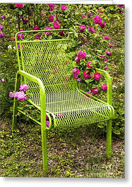 Lounge Digital Art Greeting Cards - Red Roses Green Chair Greeting Card by Lena Auxier