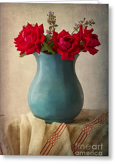 Textured Floral Greeting Cards - Red Roses In A Blue Pot Greeting Card by Elena Nosyreva