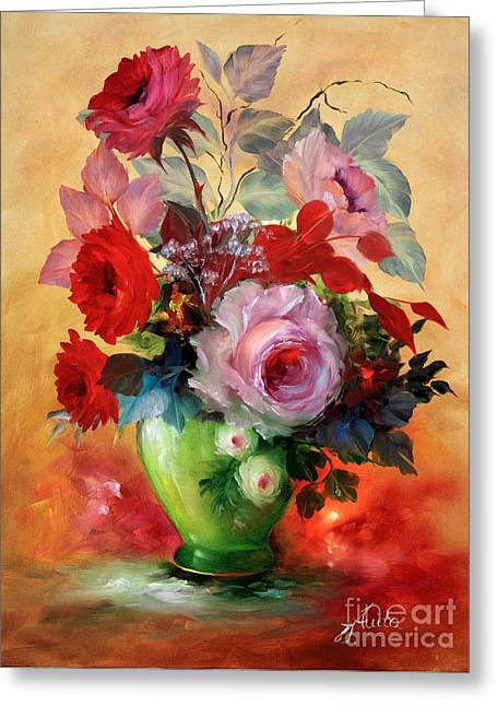 Shower Curtain Greeting Cards - Red Roses in Painted Vase Greeting Card by  ILONA ANITA TIGGES - GOETZE  ART and Photography