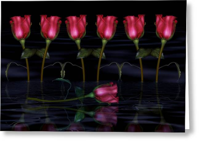 Gift For Mother Greeting Cards - Red Roses In The Moonlight  Greeting Card by Georgiana Romanovna