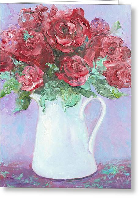 Vase Of Flowers Greeting Cards - Red Roses in white jug Greeting Card by Jan Matson