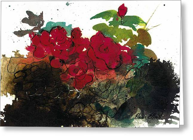 Whimsical. Greeting Cards - Red Roses on the Rocks Greeting Card by Elaine Elliott