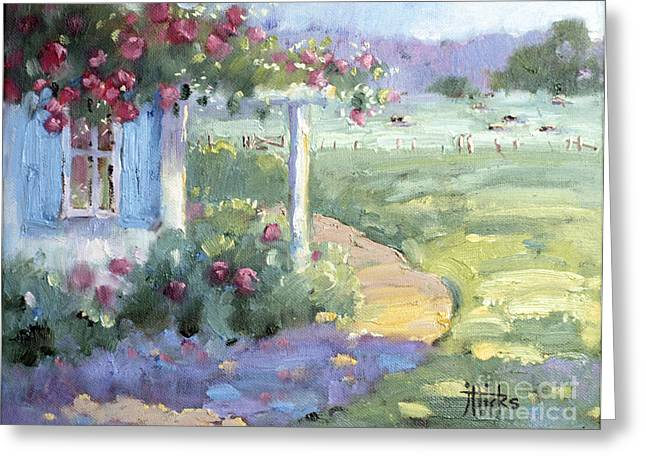 Joyce Hicks Greeting Cards - Red Roses over Blue Shutters Greeting Card by Joyce Hicks
