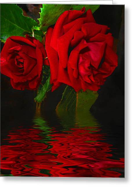 Numbers Plus Photography Greeting Cards - Red Roses Reflected Greeting Card by Joyce Dickens