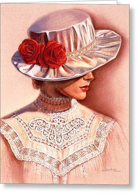 Sue Greeting Cards - Red Roses Satin Hat Greeting Card by Sue Halstenberg