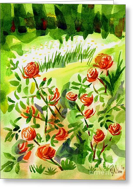 Locations Paintings Greeting Cards - Red Roses with Daisies in the Garden Greeting Card by Kip DeVore