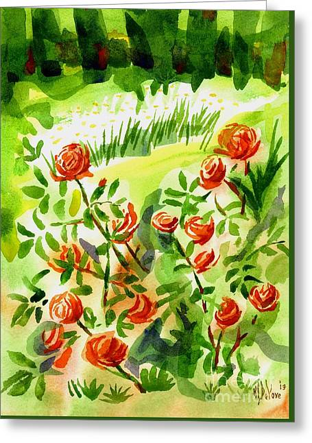 Red Roses With Daisies In The Garden Greeting Card by Kip DeVore