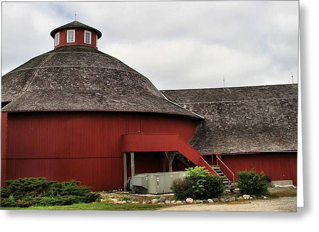 Amish Farm Greeting Cards - Red Round Barn Greeting Card by Dan Sproul