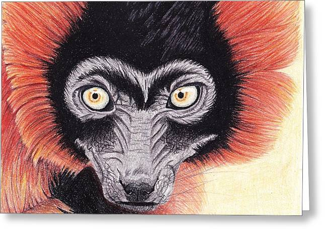 Red-ruffed Lemur Greeting Cards - Red Ruffed cutie Greeting Card by Emily Bemelmans