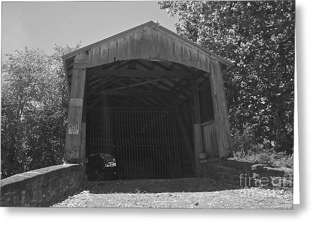 Covered Bridge Greeting Cards - Red Run Covered Bridge Greeting Card by Lori Amway
