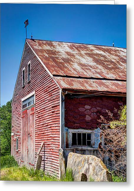 Barn Door Greeting Cards - Red Rustic Weathered Barn Greeting Card by Laura Duhaime
