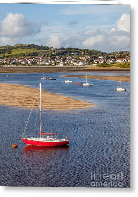 Yachting Greeting Cards - Red Sail Boat Greeting Card by Adrian Evans