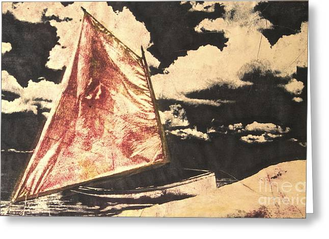 Sailboat Images Mixed Media Greeting Cards - Red Sail Greeting Card by Deborah Talbot - Kostisin