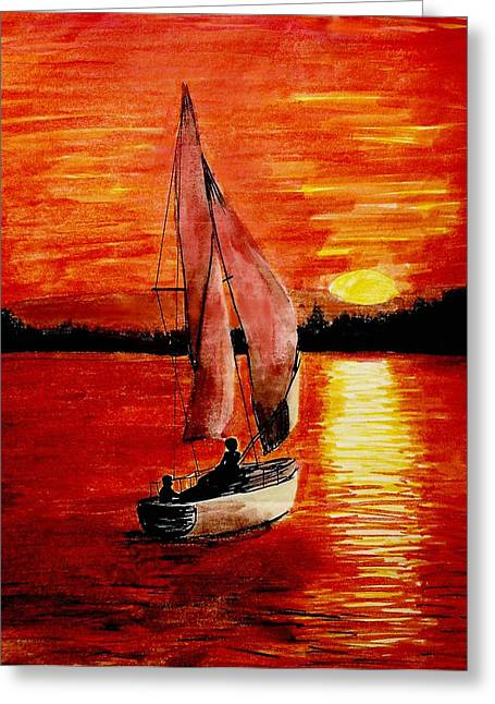 Reflecting Water Drawings Greeting Cards - Red Sail Sunset Greeting Card by Todd Spaur