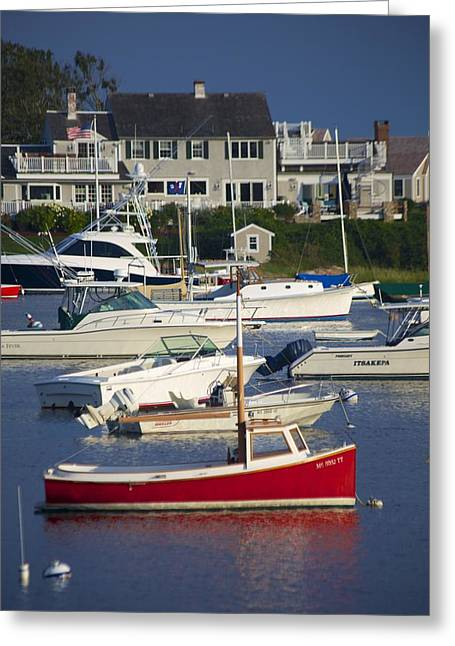 Sailboat Art Greeting Cards - Red Sailboat Greeting Card by Allan Morrison