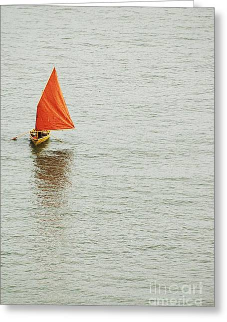 Leisure Time Greeting Cards - Red Sailboat Greeting Card by Anahi DeCanio