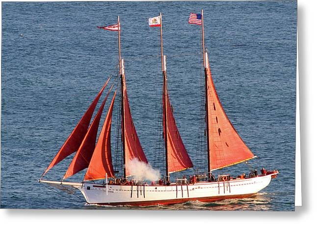Wooden Ship Greeting Cards - Red Sails Greeting Card by Art Block Collections