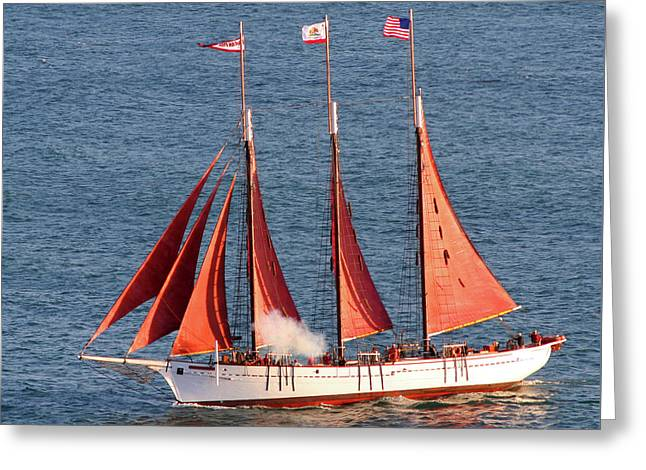 Tall Ships Greeting Cards - Red Sails Greeting Card by Art Block Collections