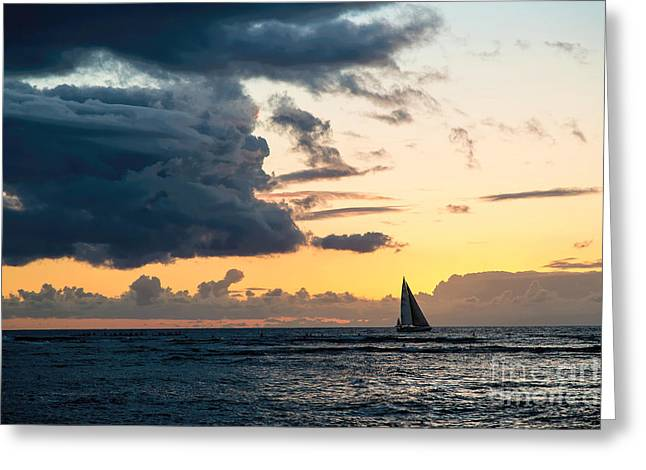 Sailboats In Water Greeting Cards - Red Sails in the Sunset Greeting Card by Jon Burch Photography