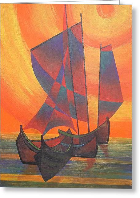 Tracey Harrington-simpson Greeting Cards - Red Sails In The Sunset Greeting Card by Tracey Harrington-Simpson