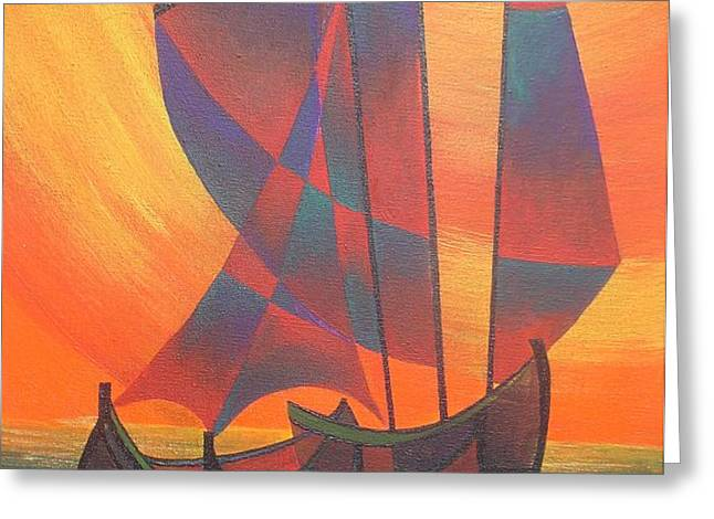 Red Sails In The Sunset Greeting Card by Tracey Harrington-Simpson