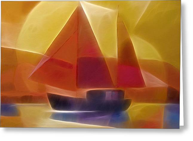 Abstract Digital Mixed Media Greeting Cards - Red Sails Greeting Card by Lutz Baar