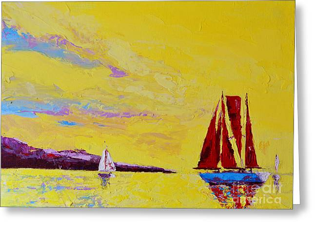 Beach House Decor Posters Greeting Cards - Red Sails Greeting Card by Patricia Awapara