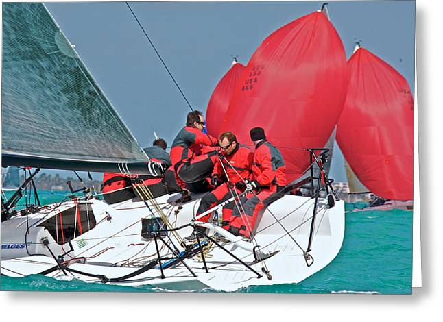 Sailboat Ocean Greeting Cards - Red Sails Greeting Card by Steven Lapkin