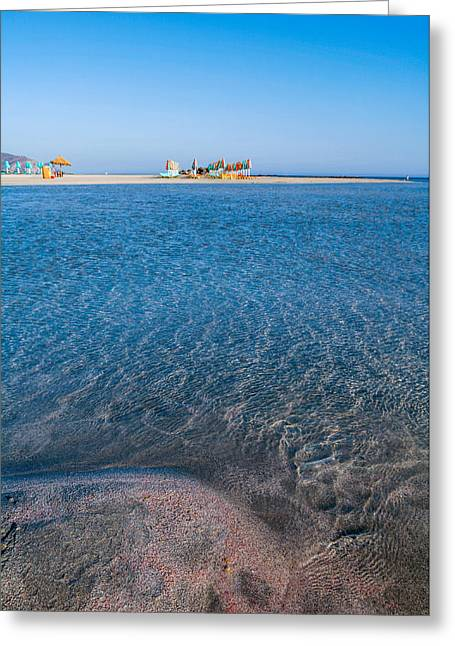Sunbed Greeting Cards - Red sand and warm seas Greeting Card by Paul Cowan