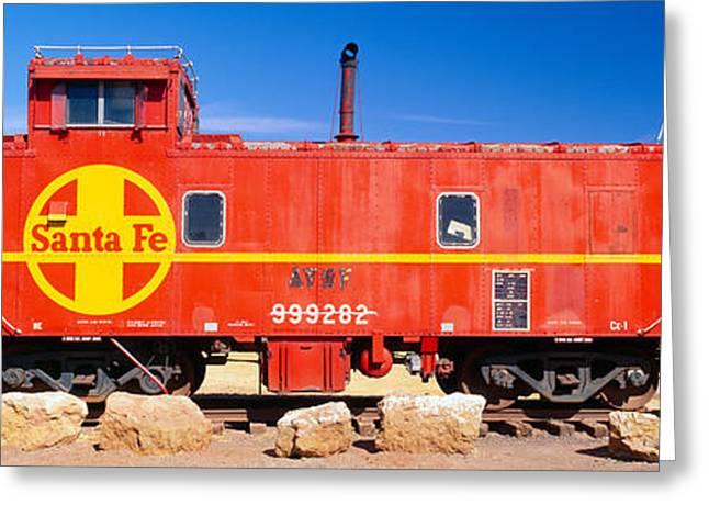 Red Santa Fe Caboose, Arizona Greeting Card by Panoramic Images
