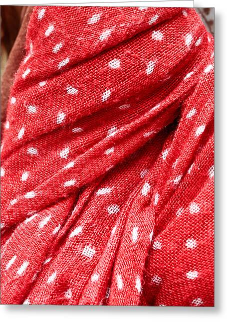 White Cloth Greeting Cards - Red scarf Greeting Card by Tom Gowanlock