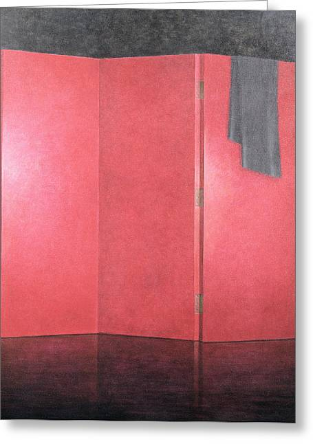 Folding Greeting Cards - Red Screen, 2005 Acrylic On Canvas Greeting Card by Lincoln Seligman