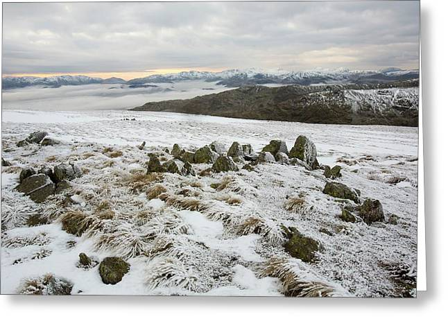 Red Screes Above Ambleside With Mist Greeting Card by Ashley Cooper