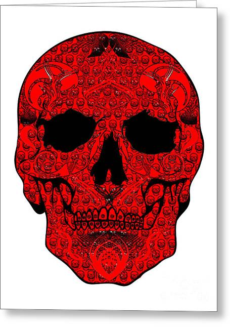Scull Greeting Cards Greeting Cards - Red Skull Greeting Card by Mauro Celotti