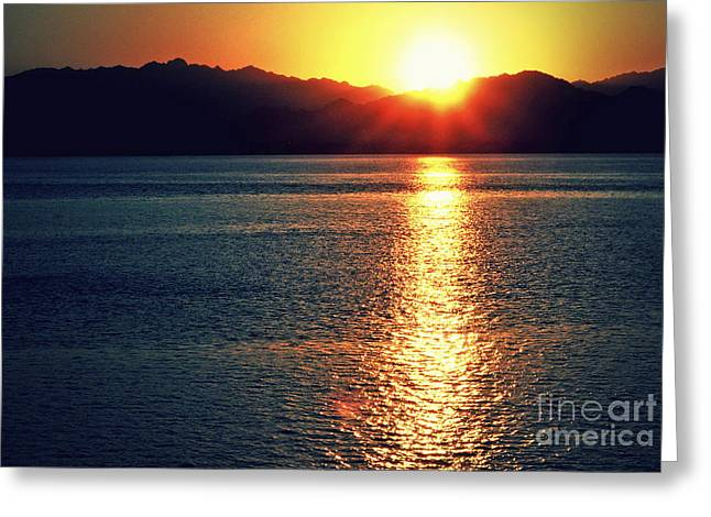 Sinai Mountain Greeting Cards - Red Sea Gold Greeting Card by Callan Percy
