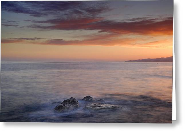 Beach Stones. Colorful Rocks Greeting Cards - Red seasunset Greeting Card by Guido Montanes Castillo