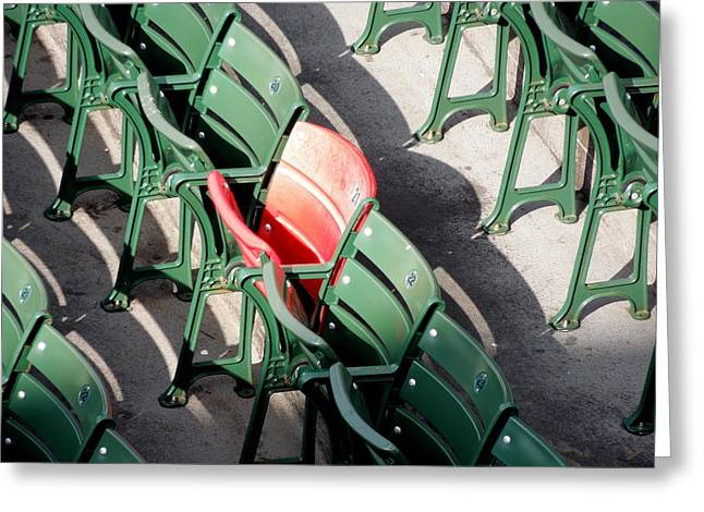 Fenway Park Greeting Cards - Red Seat at Fenway Park Greeting Card by Caroline Stella