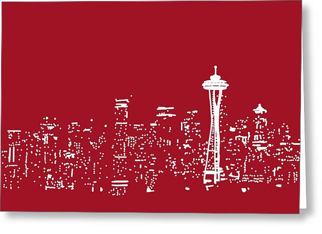 Michael Fitzpatrick Greeting Cards - Red Seattle Greeting Card by Michael Fitzpatrick