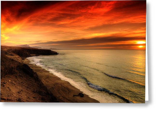 Pare Greeting Cards - Red Serenity Sunset Greeting Card by Julis Simo