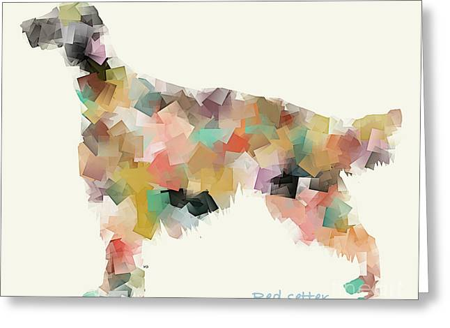 Abstract Of Dogs Greeting Cards - Red Setter Modern Greeting Card by Bri Buckley