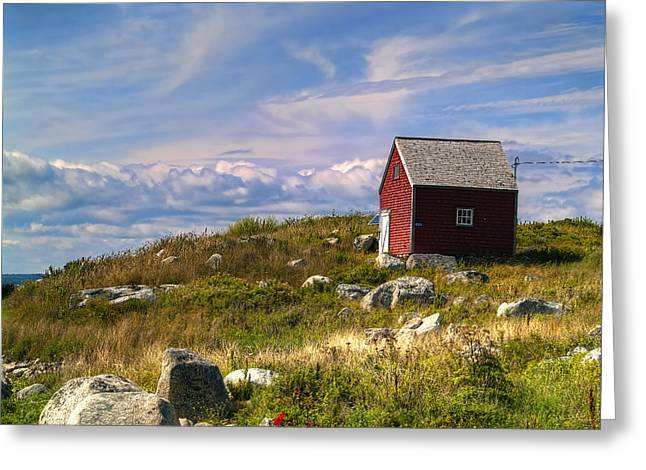 Shed Digital Art Greeting Cards - Red Shack by the Water Greeting Card by Ken Morris